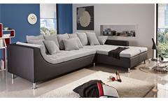 Ecksofa MONTEGO grau und schwarz mit Kissen 326x213 cm