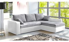 Ecksofa Viper Sofa Wohnlandschaft in weiß und grau mit Bettfunktion und Kissen