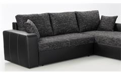 Ecksofa Viper Sofa Wohnlandschaft in schwarz und anthrazit mit Bettfunktion Kissen