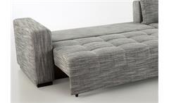 Wohnlandschaft Aura Ecksofa in Strukturstoff grau weiß mit Gästebett und Bettkasten