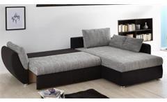 Wohnlandschaft Taifun Ecksofa Sofa in schwarz und grau mit Bettfunktion und Kissen