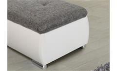 Hocker Ferrara Polsterhocker in weiß und Strukturstoff grau