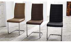 Schwingstuhl Prag 4er-Set Stuhl Esszimmerstuhl in cappuccino Gestell verchromt