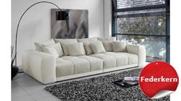 Big Sofa MOLDAU XXL Megasofa weiß und beige mit Kissen