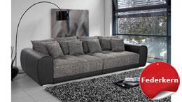 Big Sofa MOLDAU XXL Megasofa in schwarz grau mit Kissen