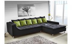 Ecksofa MONTEGO Sofa mit Ottomane dunkelgrau Kissen grün