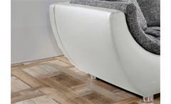 Wohnlandschaft Avus Ecksofa weiß mit Sitz und Kissen in Webstoff grau