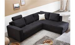 Ecksofa AURA Microfaser schwarz mit Gästebett und Bettkasten