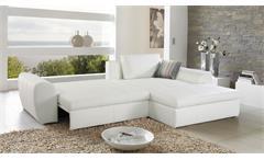 Wohnlandschaft Cascada Sofa mit Ottomane in weiß mit Bettfunktion und Bettkasten