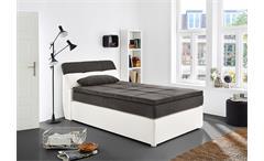 Boxspringbett Odessa Schlafzimmerbett Bett in weiß grau mit Topper 120x200