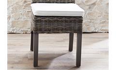 Rattanstuhl Seoul Stuhl Esszimmerstuhl Rattan Koobo grau geschält Füße dunkel