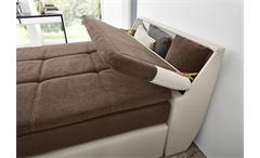 Boxspringbett Odessa Schlafzimmerbett Bett in greige braun inkl. Topper 120x200