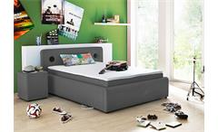 Boxspringbett SARDINIEN Bett in grau mit Audiosystem 140x200