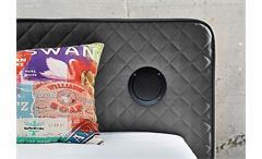 Boxspringbett Sardinien Bett Schlafzimmerbett in grau mit Audiosystem 140x200