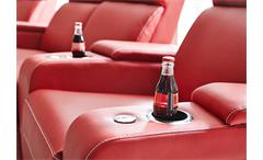 Cinema Sessel Hollywood 4er Kinosessel Kinosofa Sofa rot Getränkehalter