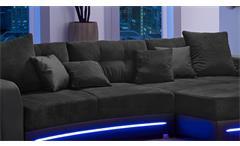 Wohnlandschaft Laredo Sofa Ecksofa in schwarz mit LED und Soundsystem
