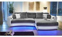 Wohnlandschaft Laredo Sofa Ecksofa in weiß grau mit LED und Soundsystem