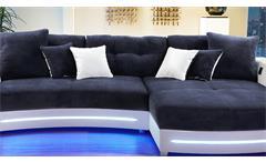 Wohnlandschaft Laredo Sofa Ecksofa in weiß dunkelblau mit LED und Soundsystem