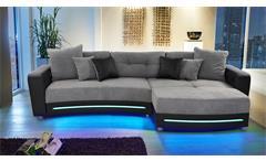 Wohnlandschaft LAREDO Sofa schwarz grau LED und Soundsystem