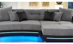 Wohnlandschaft Laredo Sofa Ecksofa in schwarz grau mit LED und Soundsystem