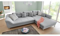 Wohnlandschaft Montreal Ecksofa L-Sofa rechts in Stoff grau inkl. Kissen 340x221