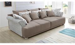 Sofa Savenna in Vintage weiß und greige Rattan Landhausstil Polstermöbel