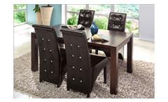 Stuhl Monroe 2er Set Esszimmerstuhl Kolonial Antik braun mit Glitzersteinen
