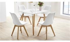 Stuhl Borkum 4er Set Esszimmerstuhl weiß Kunststoff und Beine in Buche massiv