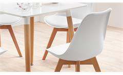 Essgruppe mit Tisch Grönland 80x80 und 4 Stühlen Borkum weiß Gestell Massivholz