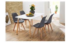 Essgruppe mit Tisch Grönland 120x80 und 4 Stühlen Borkum grau Gestell Massivholz