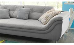 Wohnlandschaft Montreal Ecksofa L-Sofa links in Stoff grau inkl. Kissen 340x221