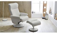 Relaxsessel Ricarda Relax Chair Sessel Stuhl Fernsehsessel weiß inkl. Hocker