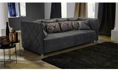 Big Sofa TREVISO Nubukoptik Lederlook grau inklusive Kissen