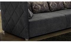 Big Sofa TEVISO in Nubukoptik Lederlook grau inklusive Kissen Wohnzimmer