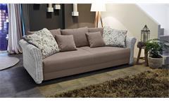Big Sofa RAPHAEL Stoff greige Rattan weiß Vintage mit Schlaffunktion