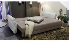 Big Sofa RAPHAEL Stoff greige Rattan weiß Vintage mit Schlaffunktion Wohnzimmer