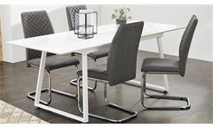 4er Set Schwingstuhl Benno Stoff grau und Chrom Freischwinger Esszimmer Stuhl