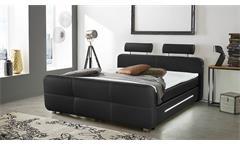 Boxspringbett Gina Bett für Schlafzimmer in schwarz mit Topper und LED 180x200