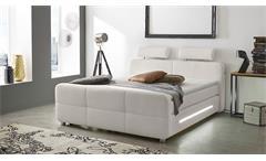 Boxspringbett Gina Bett für Schlafzimmer in weiß mit Topper und LED 180x200
