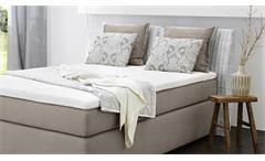 Boxspringbett Celia 140x200 Bett Komfortbett Visco-Topper greige beige Rattan