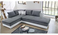 Wohnlandschaft R Modena Sofa Ecksofa Bett Nako in grau und weiß mit Bettfunktion