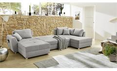 Wohnlandschaft U-Form Sofa Starnberg grau Bettfunktion