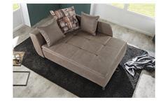 Recamiere ROMAN Schlafsofa Sofa in braun mit Tonnentaschenfederkern