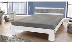 Futonbett Rhone Bett Bettgestell in weiß Beton mit Rollrost und Matratze 140