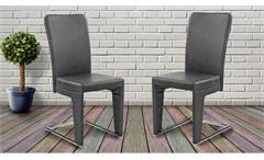 Schwingstuhl 2er Set Stuhl Esszimmerstuhl Freischwinger Haltern in vintage grau