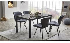 Esstisch Timbas Esszimmertisch Küchentisch Tisch in schwarz mit Glas 150x90 cm