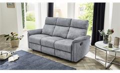 Sofa Amrum Sessel Relaxsessel 3-Sitzer mit Funktion Vintage grau 180