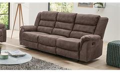 Sofa CLEVELAND Sessel Relaxsessel 3-Sitzer mit Funktion in braun 220