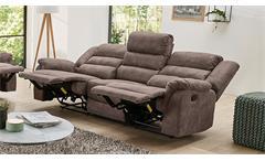 Sofa Cleveland Sessel Relaxsessel 3-Sitzer Polstermöbel mit Funktion braun 220