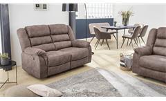Sofa CLEVELAND Sessel Relaxsessel 2-Sitzer Funktion Vintage grau braun